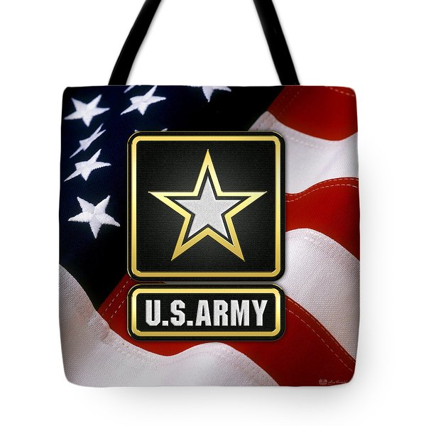 U. S. Army Logo Over American Flag. Tote Bag
