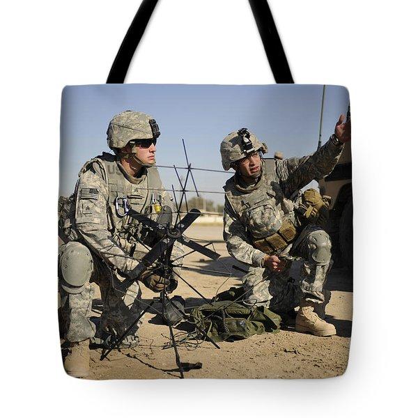 U.s. Army Soldiers Setting Tote Bag by Stocktrek Images