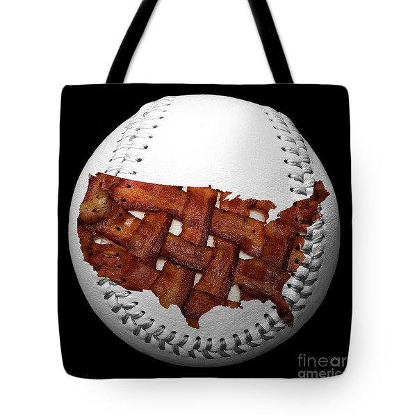 Us Bacon Weave Map Baseball Square Tote Bag by Andee Design