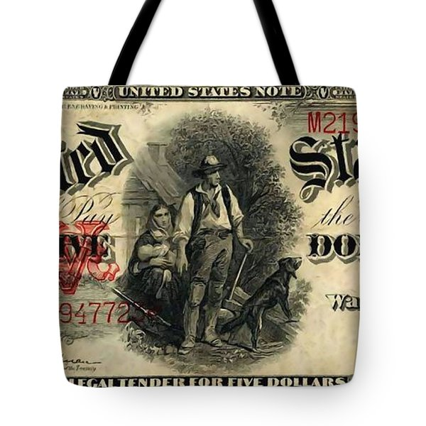 Us Five Dollar United States Note Series 1907 Tote Bag by Lanjee Chee