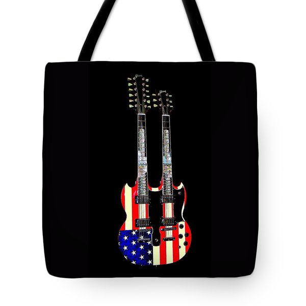 U S Flag Gibson Guitar Poster Tote Bag by Jean Goodwin Brooks