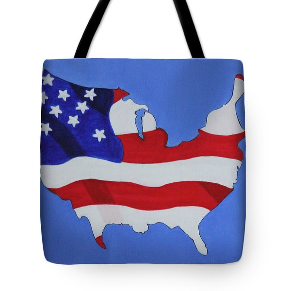 Us Flag Tote Bag by Lorna Maza