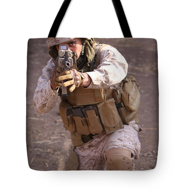 Us Marine At Work Tote Bag by Shoal Hollingsworth