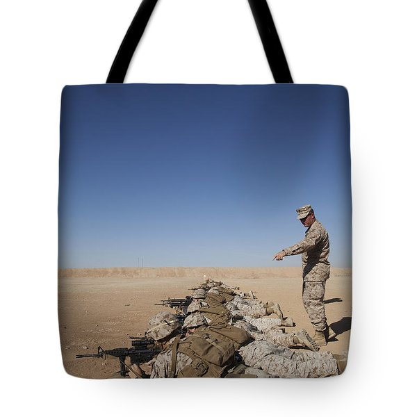 U.s. Marine Corps Officer Directs Tote Bag by Stocktrek Images