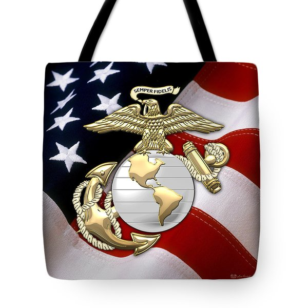 U. S. Marine Corps - U S M C Eagle Globe And Anchor Over American Flag. Tote Bag