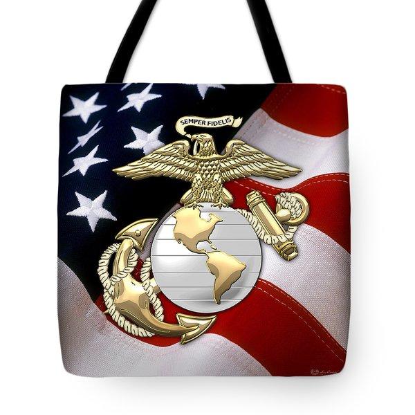 U. S. Marine Corps - U S M C Eagle Globe And Anchor Over American Flag. Tote Bag