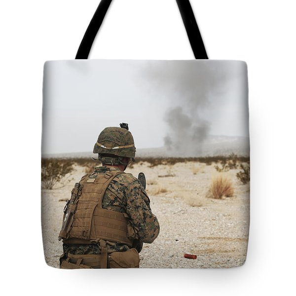 U.s. Marine Provides Security As Part Tote Bag by Stocktrek Images