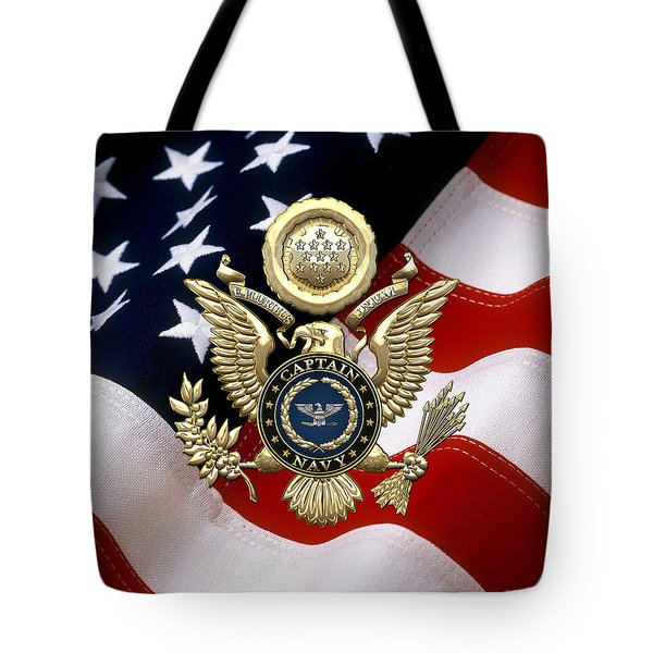 U. S.  Navy Captain - C A P T  Rank Insignia Over Gold Great Seal Eagle And Flag Tote Bag