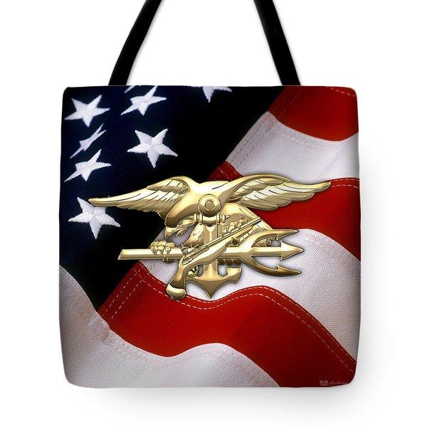 U. S. Navy S E A Ls Emblem Over American Flag Tote Bag