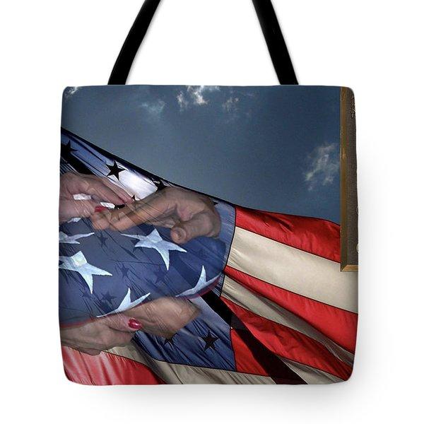 Us Veterans Burial Flag 3 Panel Composite Digital Art Tote Bag by Thomas Woolworth