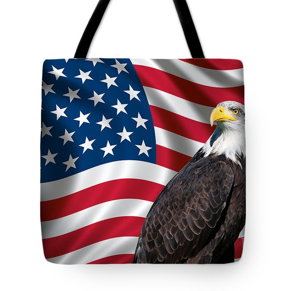 Tote Bag featuring the photograph Usa Flag And Bald Eagle by Carsten Reisinger