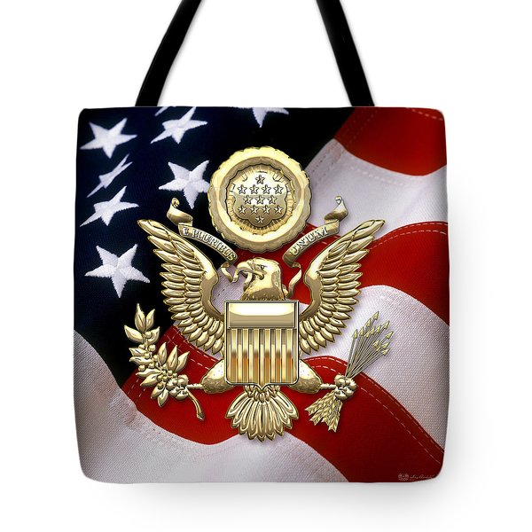 U. S. A. Great Seal In Gold Over American Flag  Tote Bag