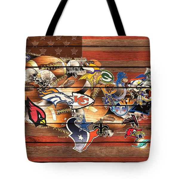 Usa Nfl Map Collage 10 Tote Bag