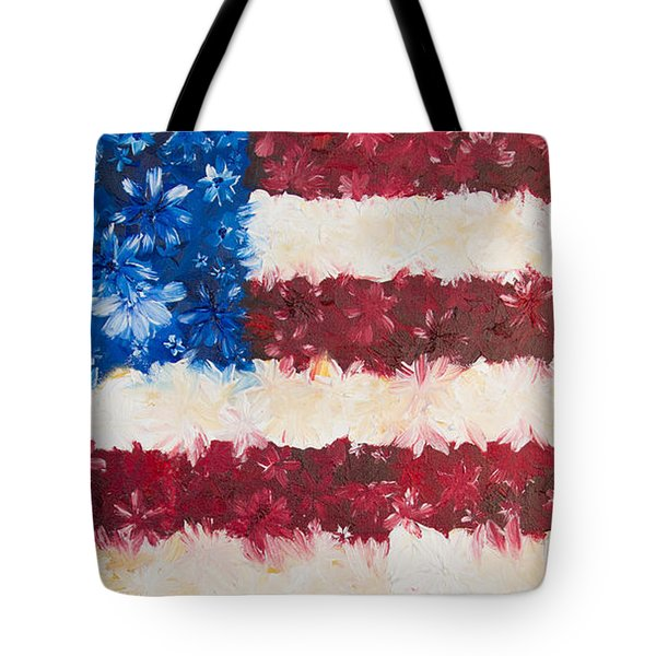 Tote Bag featuring the painting Usa Proud by Melinda Cummings
