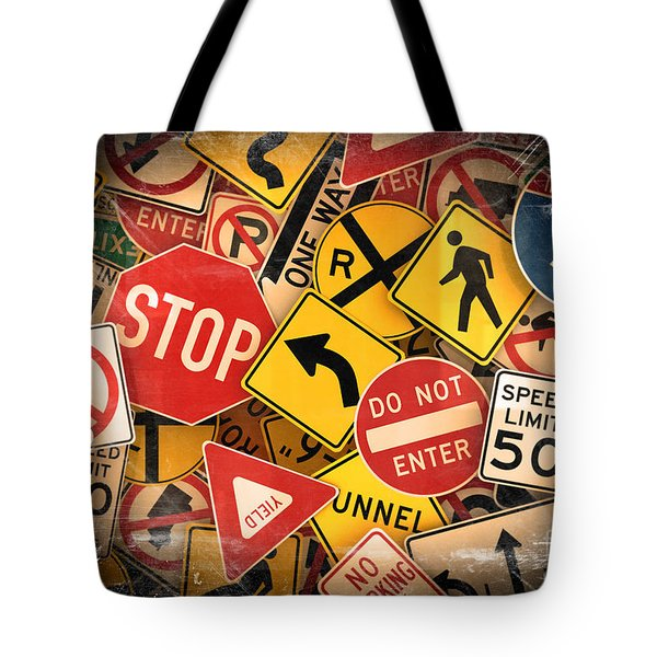 Tote Bag featuring the photograph Usa Traffic Signs by Carsten Reisinger