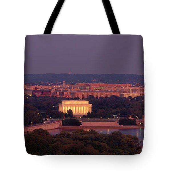 Usa, Washington Dc, Aerial, Night Tote Bag by Panoramic Images