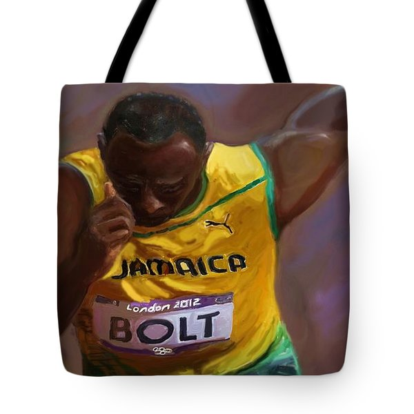Tote Bag featuring the painting Usain Bolt 2012 Olympics by Vannetta Ferguson