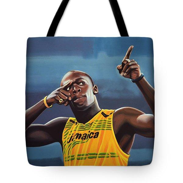 Usain Bolt Painting Tote Bag