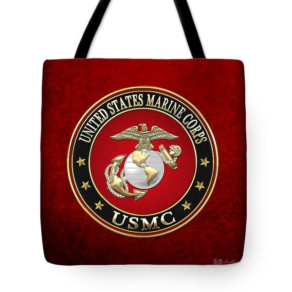 U S M C Eagle Globe And Anchor - E G A On Red Velvet Tote Bag
