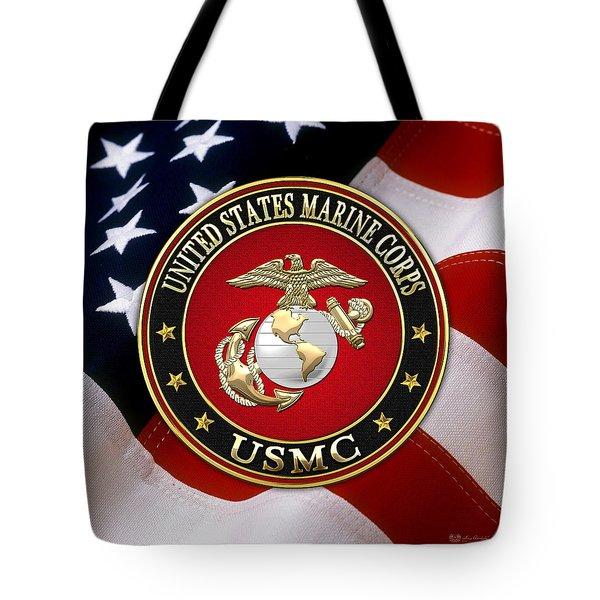 U S M C Eagle Globe And Anchor - E G A Over American Flag. Tote Bag