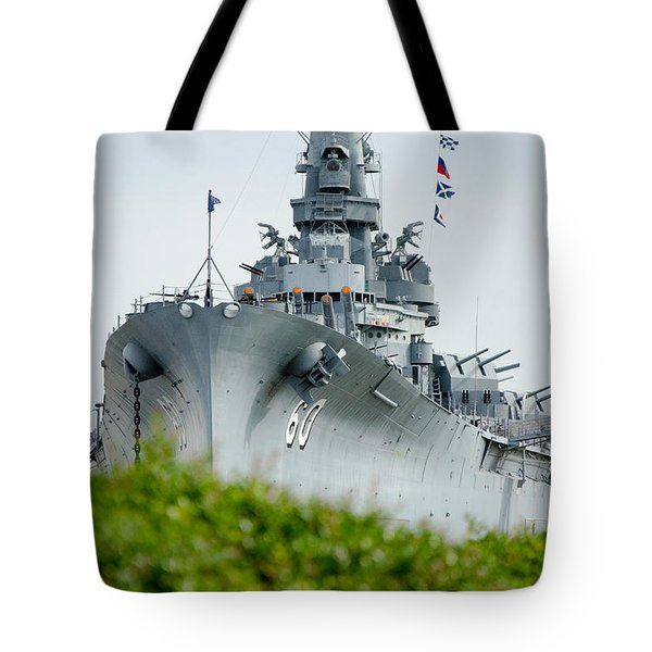 Tote Bag featuring the photograph Uss Alabama 2 by Susan  McMenamin