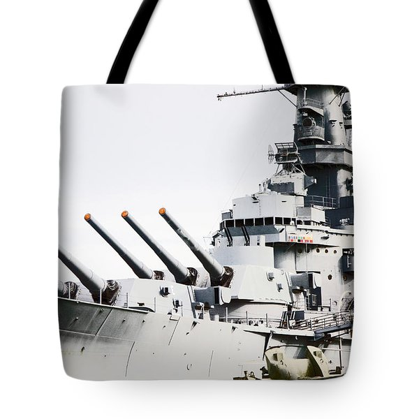 Tote Bag featuring the photograph Uss Alabama by Susan  McMenamin