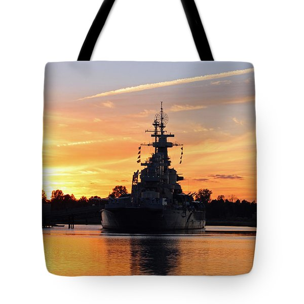 Tote Bag featuring the photograph Uss Battleship by Cynthia Guinn