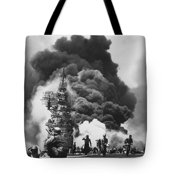 Uss Bunker Hill Kamikaze Attack  Tote Bag by War Is Hell Store