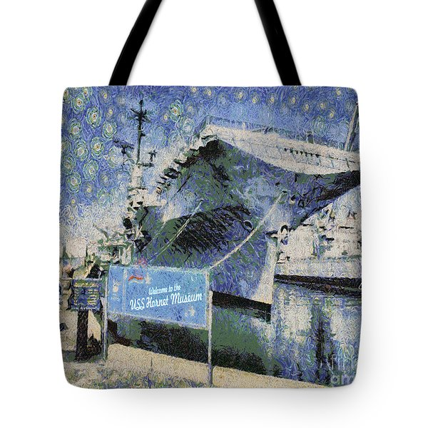 Tote Bag featuring the painting Alameda Uss Hornet Aircraft Carrier by Linda Weinstock