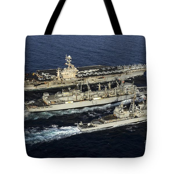 Uss John C. Stennis, Uss Mobile Bay Tote Bag by Stocktrek Images