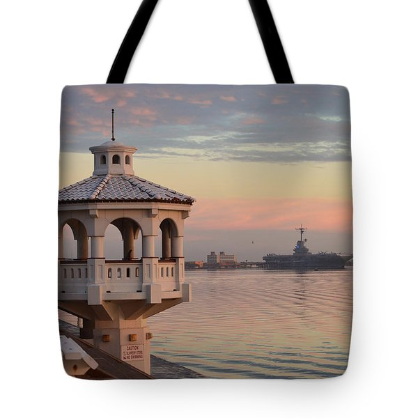 Uss Lexington At Sunrise Tote Bag by Leticia Latocki