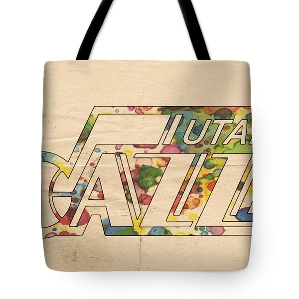 Utah Jazz Retro Poster Tote Bag by Florian Rodarte