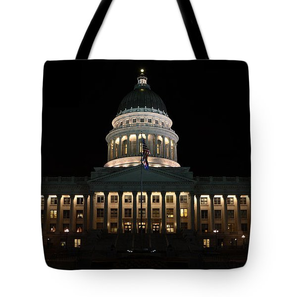 Tote Bag featuring the photograph Utah State Capitol Front by David Andersen