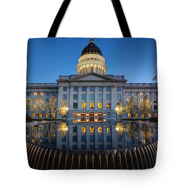 Utah State Capitol In Reflecting Fountain At Dusk Tote Bag