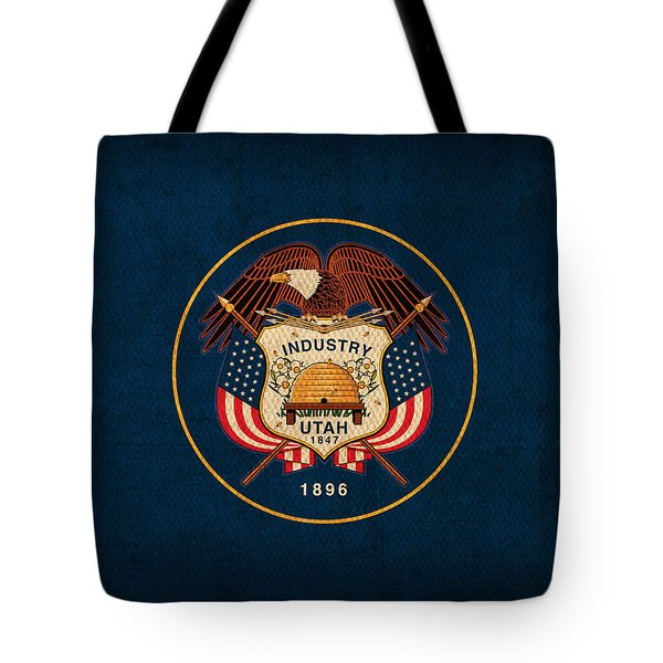 Utah State Flag Art On Worn Canvas Tote Bag by Design Turnpike