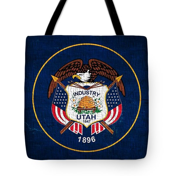Utah State Flag On Canvas Tote Bag by Dan Sproul