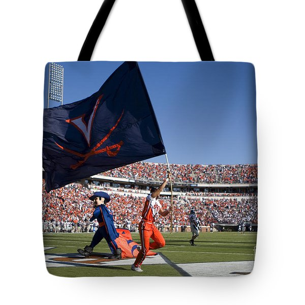 Uva Virginia Cavaliers Football Touchdown Celebration Tote Bag