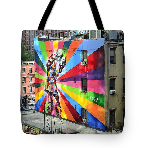 V - J Day Mural By Eduardo Kobra Tote Bag by Allen Beatty