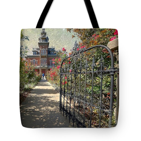 Vaile Landscape And Gate Tote Bag by Liane Wright