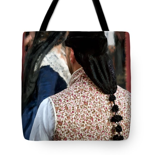 Tote Bag featuring the photograph Valencian Couple In Traditional Dresses. by Juan Carlos Ferro Duque