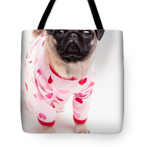 Valentine's Day - Adorable Pug Puppy In Pajamas Tote Bag by Edward Fielding