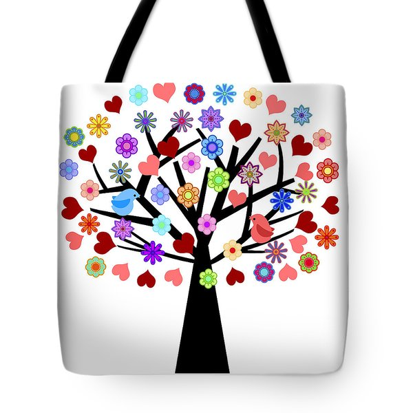 Valentines Day Tree With Love Birds Hearts Flowers Tote Bag