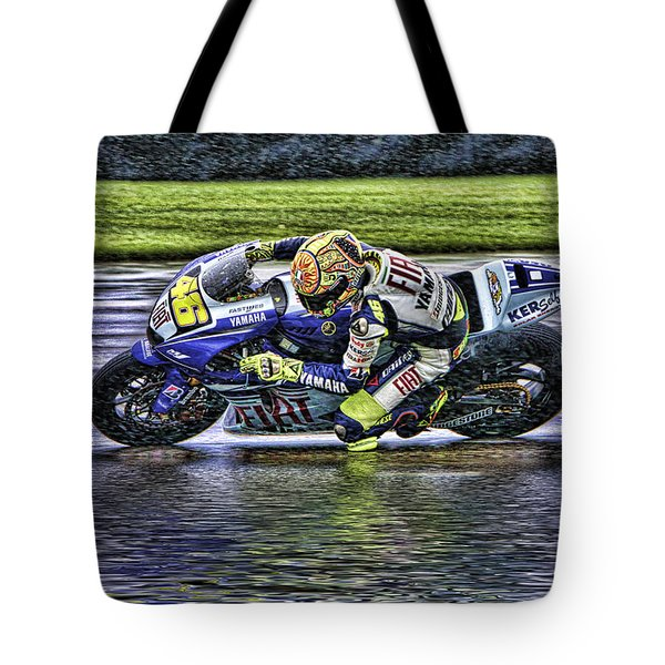Valentino Rossi At Indy Tote Bag