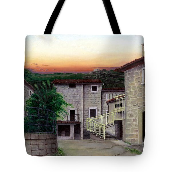 Tote Bag featuring the painting Vallecchia De Monte Calvo by Albert Puskaric