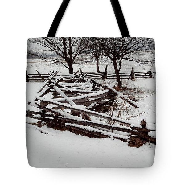 Valley Forge Snow Tote Bag by Michael Porchik