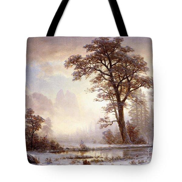 Valley Of The Yosemite Snow Fall Tote Bag by Albert Bierstadt