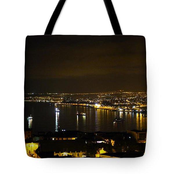 Valparaiso Harbor At Night Tote Bag by Kurt Van Wagner