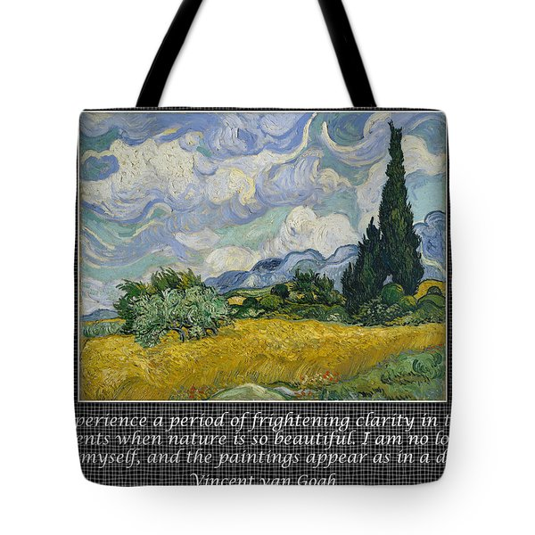 Van Gogh Motivational Quotes - Wheat Field With Cypresses II Tote Bag