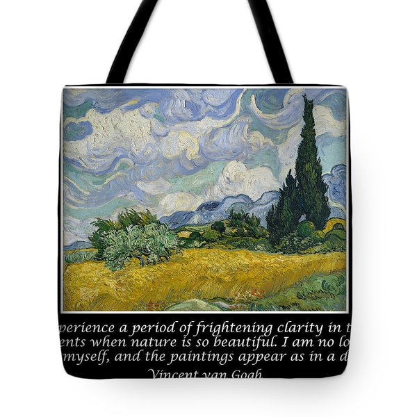 Van Gogh Motivational Quotes - Wheat Field With Cypresses Tote Bag