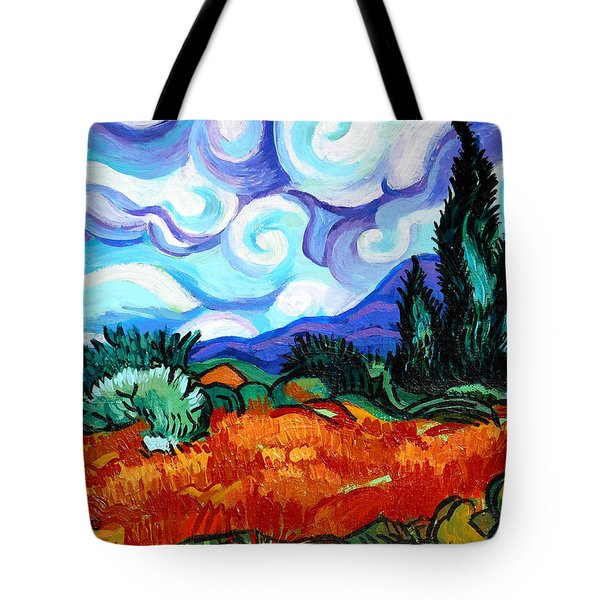 Van Goghs Wheat Field With Cypress Tote Bag by Genevieve Esson